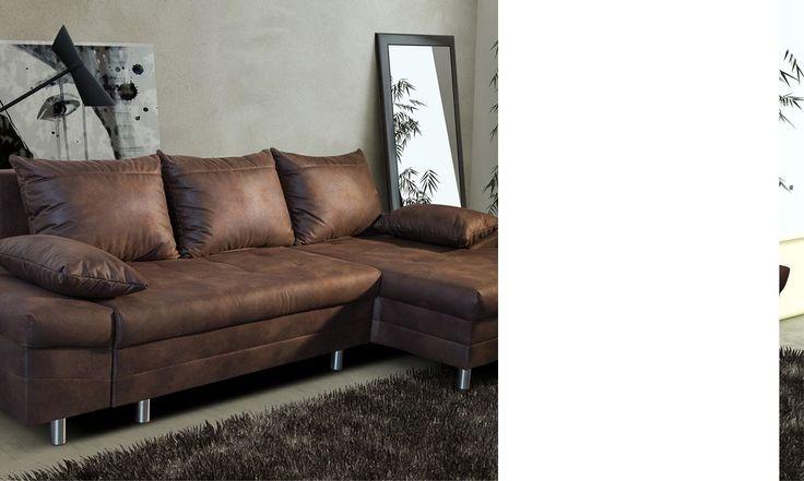 Canap d 39 angle convertible en tissu marron vieilli ultimo for Coffre de rangement couture