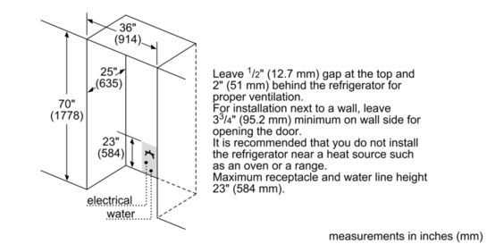 Refrigerator, Dimensions Of Refrigerator Average Refrigerator Dimensions Bosch B21CL80SNS Dimensions Guide In Inches: astonishing dimensions of refrigerator