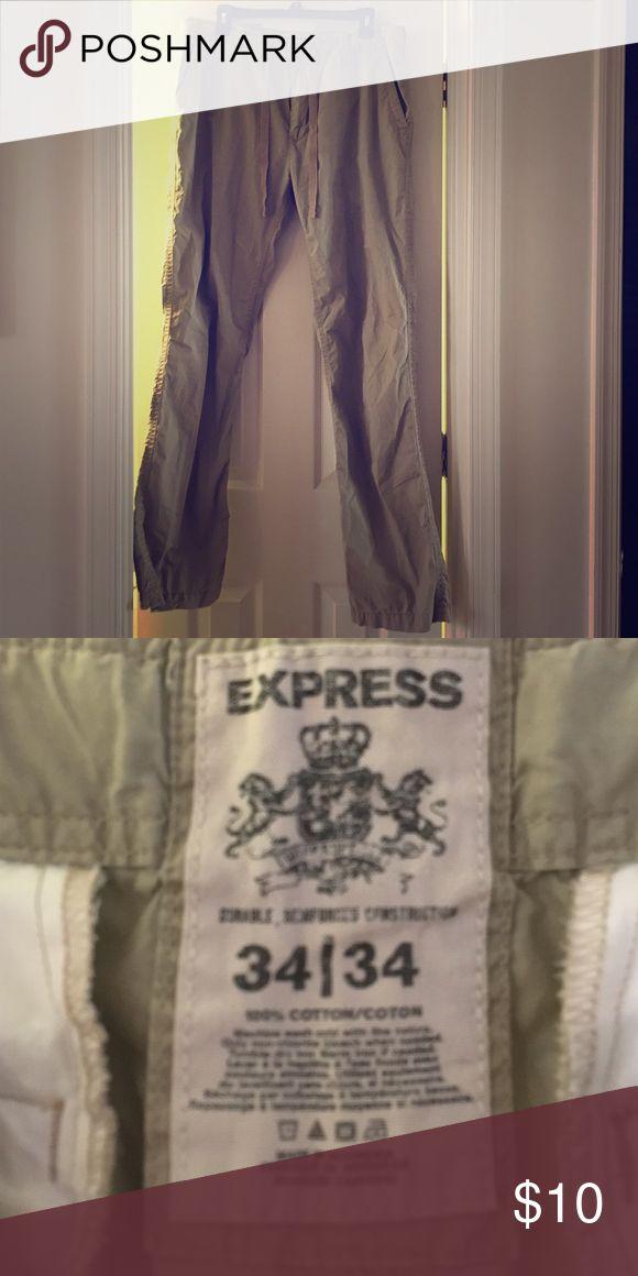 Express men's khaki pants Size 34/34. Button and drawstring waisted. Express Pants Chinos & Khakis