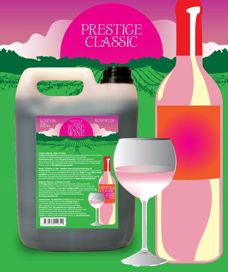 Prestige Classic vinsats 7KG Rosé vin Vinsats av hög kvalitet på 6,9 kg druvkoncentrat i 5L plastdunk. Komplett - endast vatten behöver tillsättas.