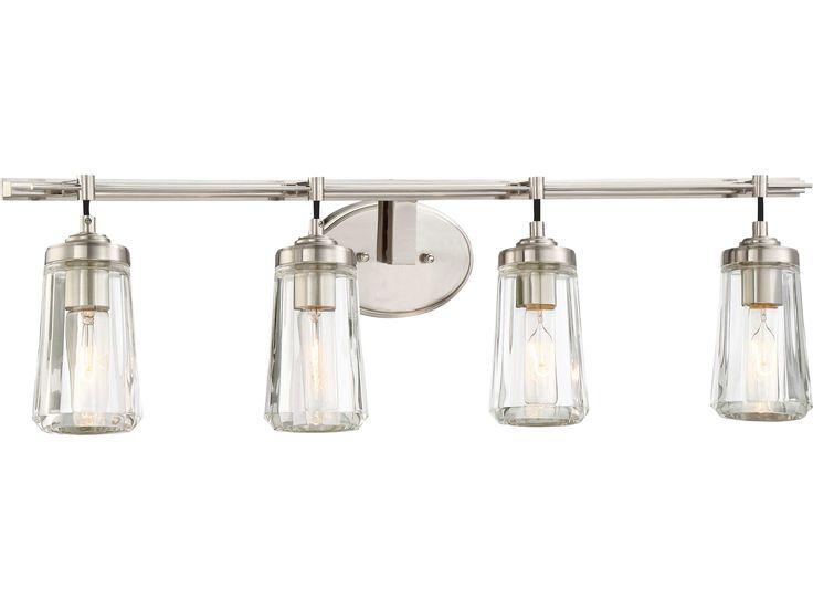 Lynk Bath Vanity Light In 2019: Minka Lavery Poleis Brushed Nickel Glass Industrial Vanity