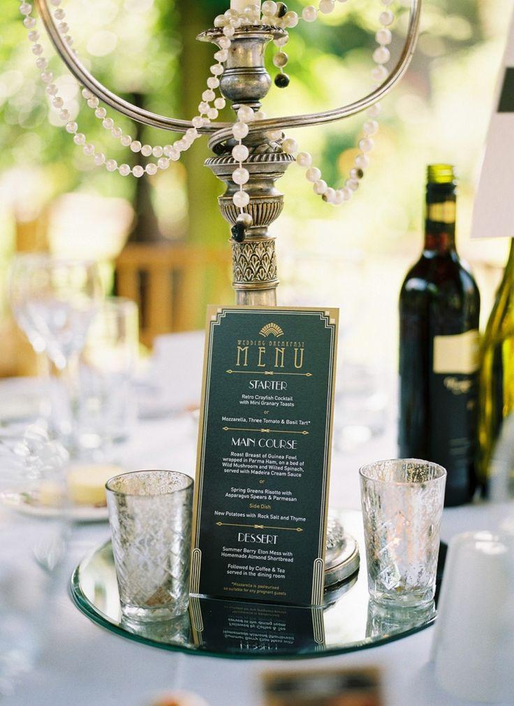 高級感のあるダークグリーンxゴールド グリーンのメニュー表まとめ。センスがいい結婚式のメニュー表一覧。