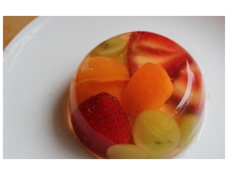 Mini fruit gelatin molds.