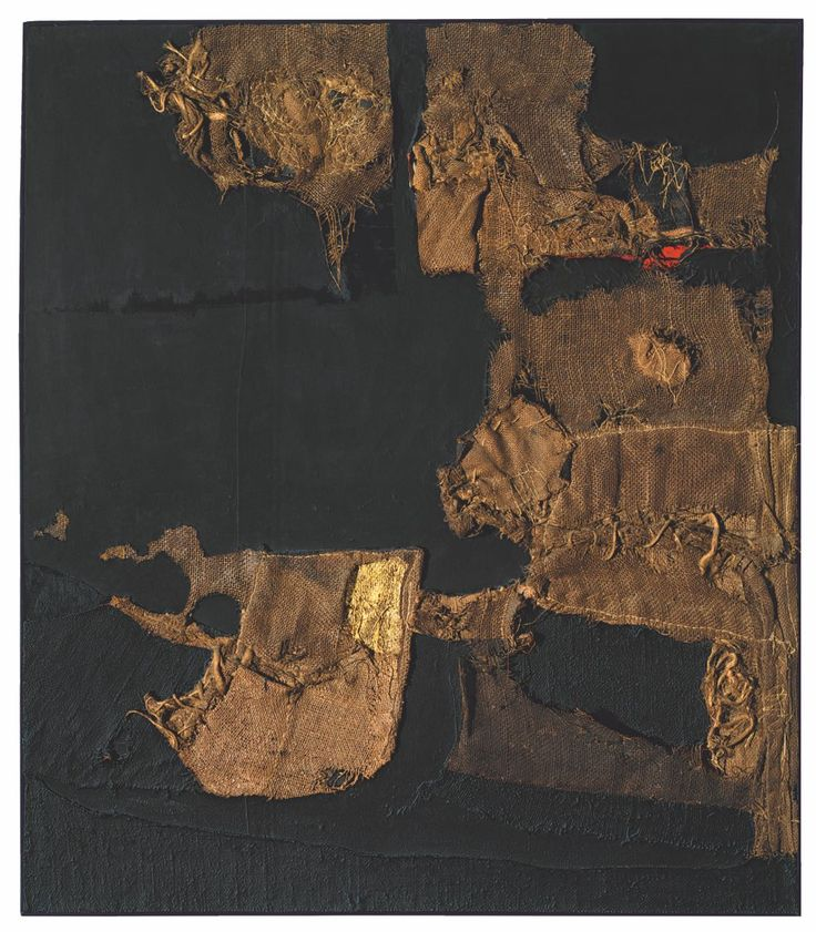 For those fond of making lists, Alberto Burri: The Trauma of Painting, a large-scale solo exhibition of paintings currently on view at the Guggenheim Museum in New York provides a fertile stomping ground: Catrami, Gobbi, Muffi, Bianchi, Sacchi, Combustioni and Legini, Ferri, Combustioni Plastiche, Cretti. Tars, Hunchbacks, Molds, Whites, Sacks, Combustions and Woods, Irons, Plastic Combustions, Cracks. Ground pumice stone, tar, discarded linens, burlap sacks, wood veneer, cold-rolled…