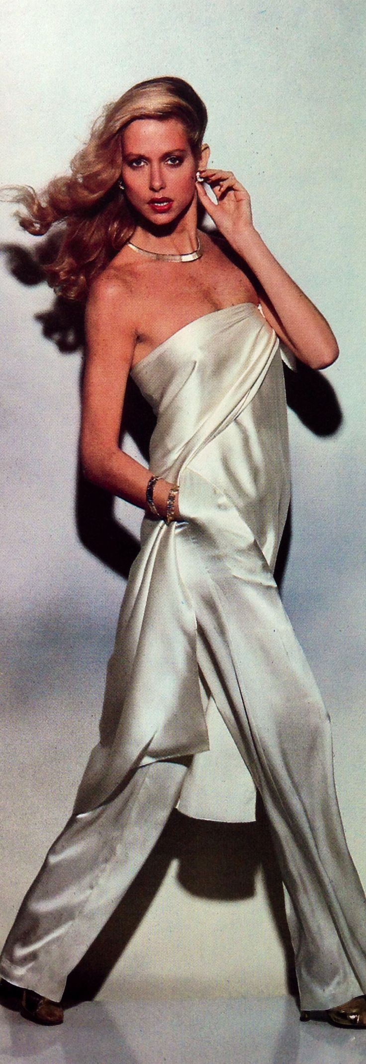 Vintage jumpsuit 1979 vintage fashion color photo print ad models magazine designer 70s 80s white silk jumpsuit pantsuit tunic pants