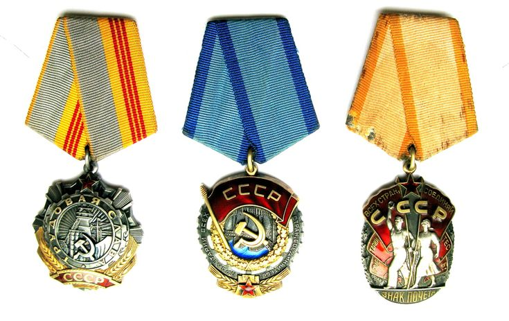 Order of Labour Glory [left] / Order of the Red Banner of Labour [middle] / Order of the Badge of Honour [right]
