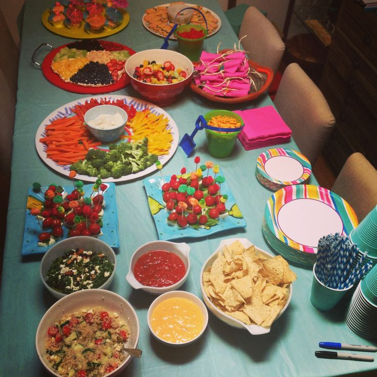 Adult pool party food table