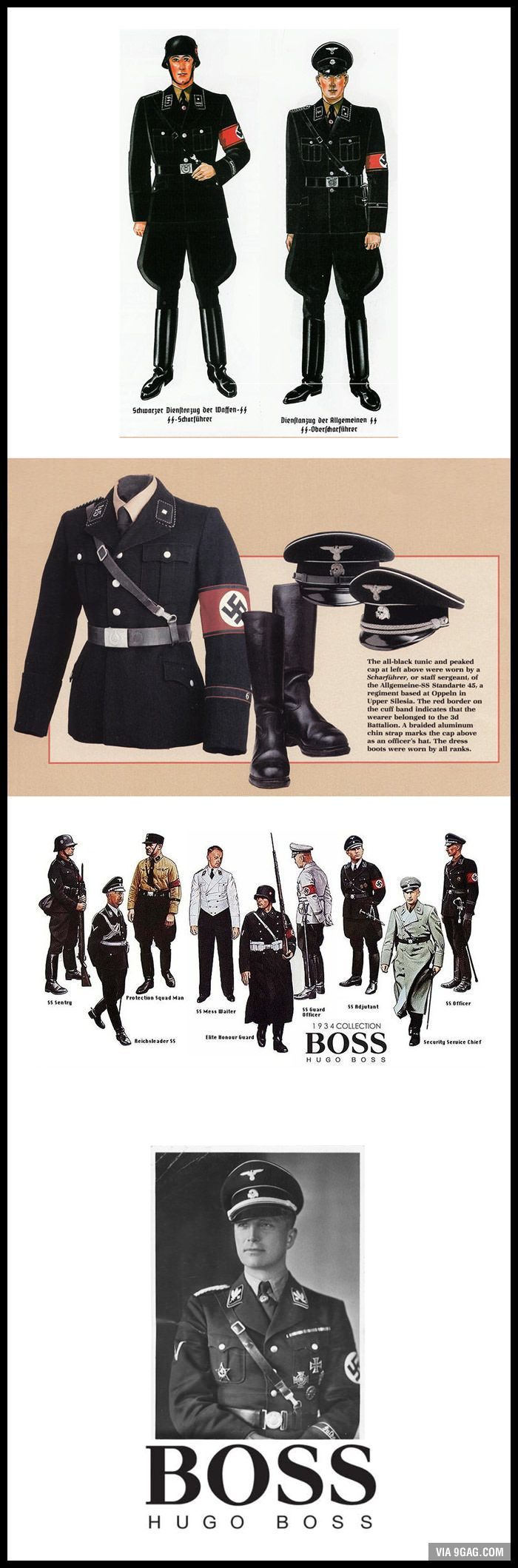 "Hugo Boss designed the Nazi uniforms. He was stripped of his voting rights and fined ""a very heavy penalty"" of 100,000 DM (USD 70,553)."