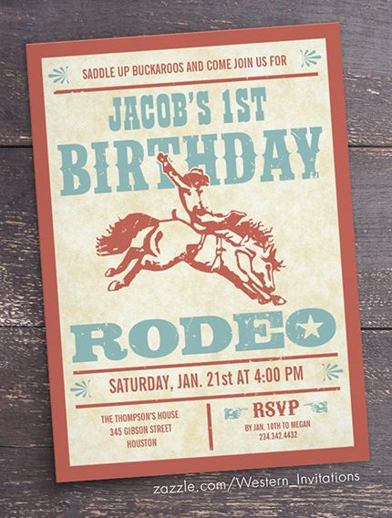 Cowboy Birthday Invitations - Rodeo Western Theme