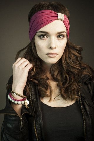 Ladies: Hot pink bamboo headband with desert mosaic leather loop