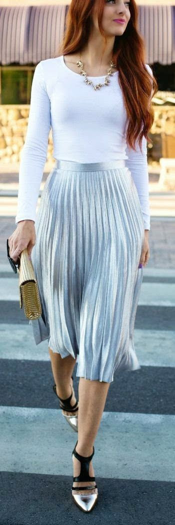 Classic white top with Silver pleated skirt