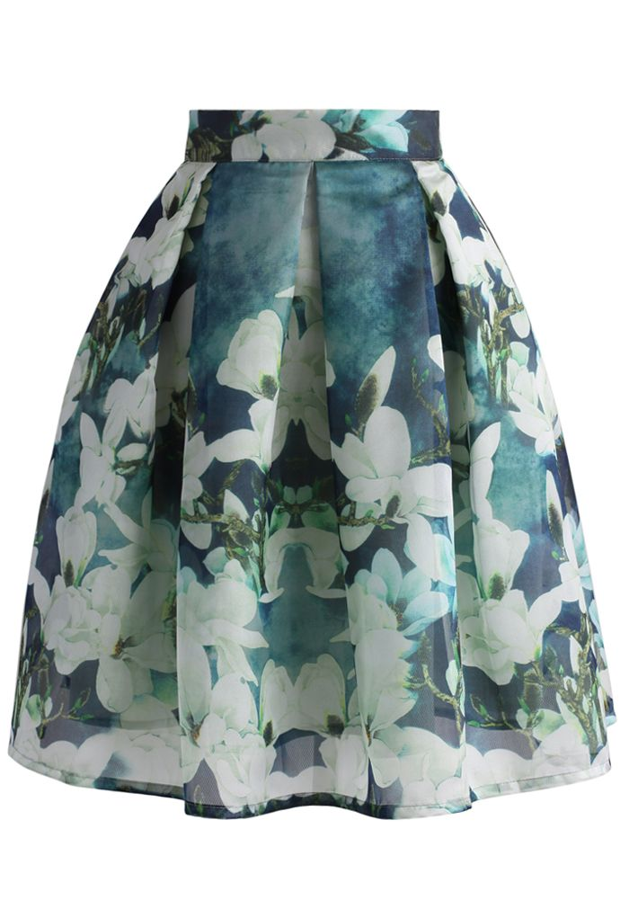 Greenish Magnolia Pleated Skirt - Skirt - Bottoms - Retro, Indie and Unique Fashion