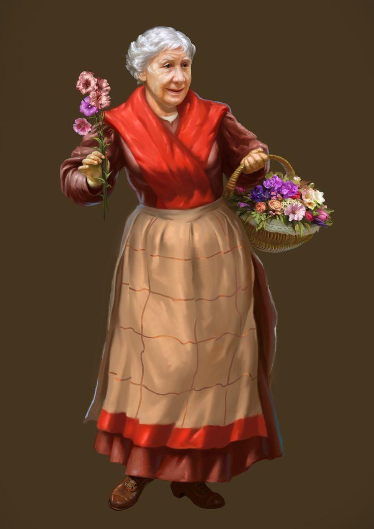 Сообщество иллюстраторов | Иллюстрация цветочница.