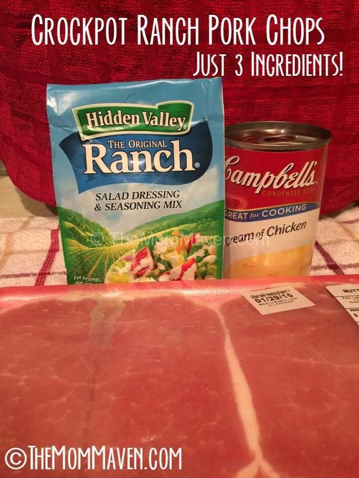 Note to myself ~ add mushrooms! Crockpot+Ranch+Pork+Chops+recipe-only+3+ingredients!