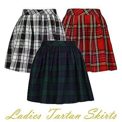 Ladies-Womens-Elasticated-Waist-Tartan-Skater-Skirt-UK-Size-8-14