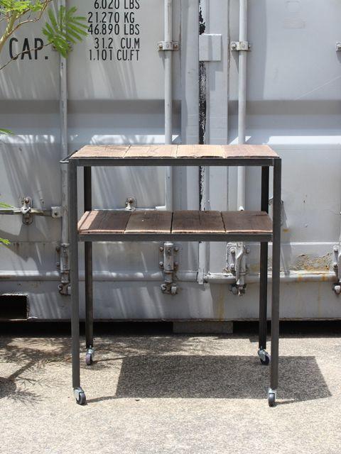 画像1: ≪ワゴン≫【キッチンワゴン USED足場板×黒皮アイアン/Used Ashiba Kitchen wagon】 (1)