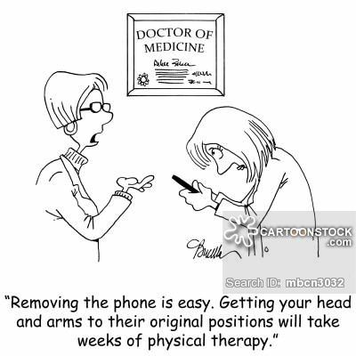 'Removing the phone is easy. Getting your head and arms to their original positions will take weeks of physical therapy.'
