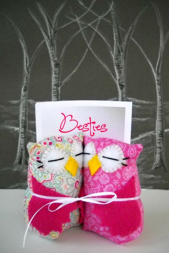BFF gift Owl Besties best friends owls in pink are the perfect way to celebrate friendship.  Great Valentine's Day gift for your Bestie! on Etsy, Sold