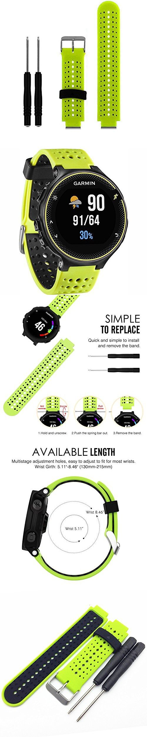 HWHMH 1PC Replacement Silicone Bands With 2PCS Pin Removal Tools For Garmin Forerunner 220/230/235/620/630 (No Tracker, Replacement Bands Only) (02-Lime/Black)