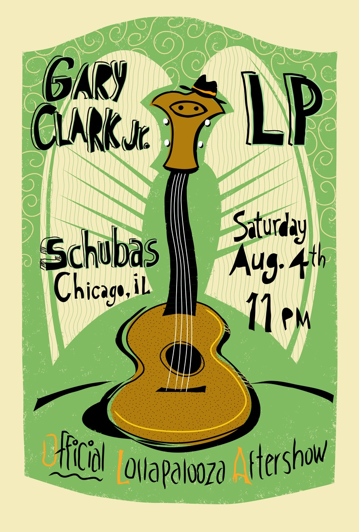 Entry for LP & Gary Clark Jr. 2012 Lollapalooza after show gig poster