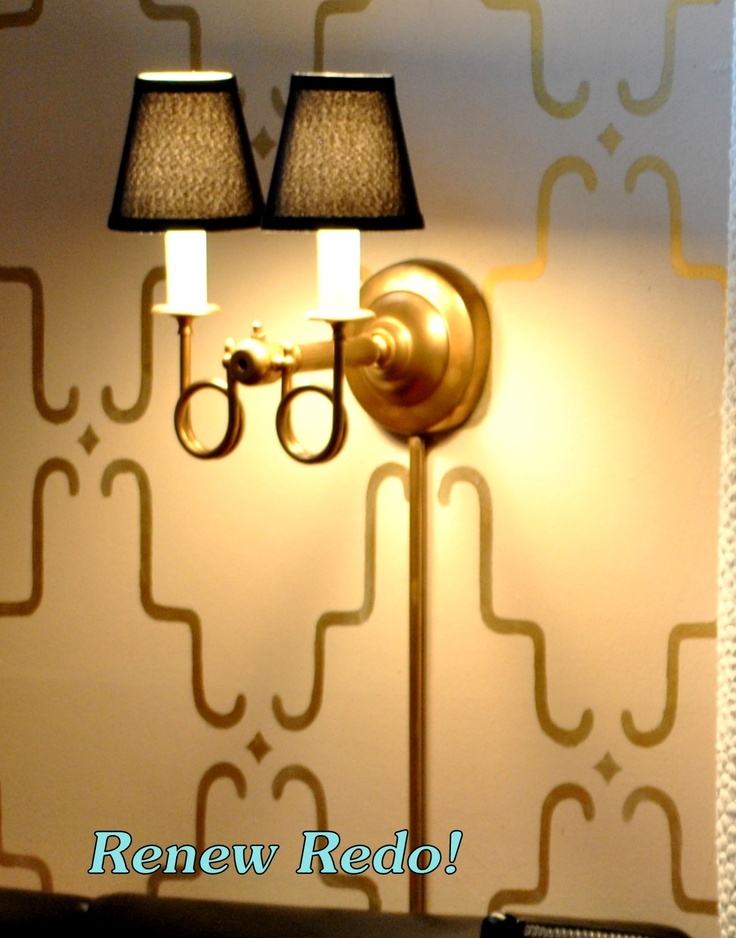 turn table lamp into sconce; lowes cord hider - spray painted