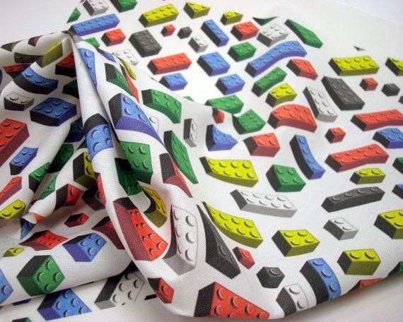 Toy Bricks Fabric Fat Quarter Multicolored On White