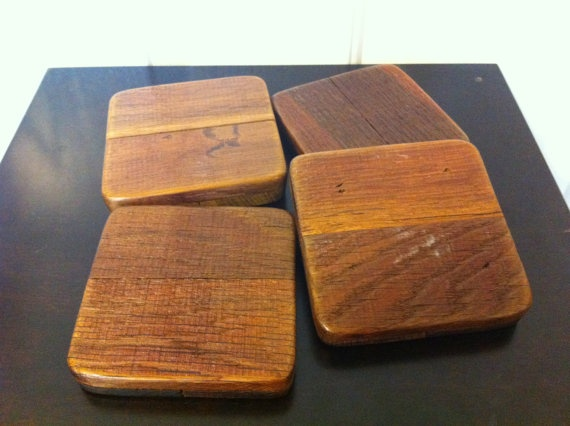 Recycled Wine Barrel Drink Coasters. These earthy wooden coasters are made of authentic recycled oak wine barrels. Set of 4 by Etsy Shop: IBlameMyParents