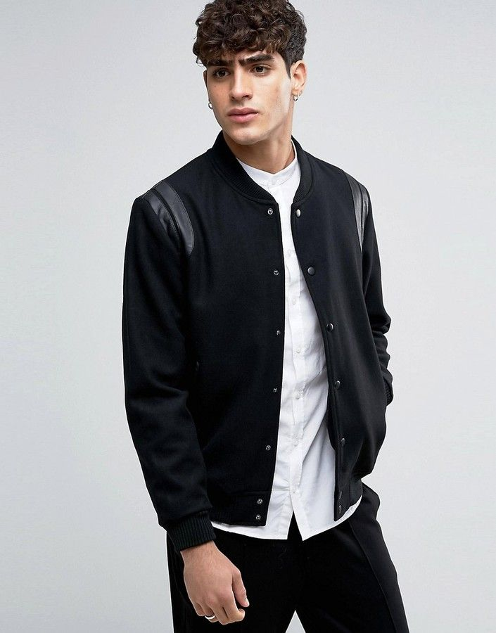 Bomber Jacket by Selected Homme, Midweight wool-mix fabric, Baseball collar, Press stud placket, Faux leather trims, Side pockets, Ribbed hem and cuffs, Regular fit - true to size, Dry clean, 50% Wool, 40% Polyester, 10% Other Fibres, Our model wears a size Medium and is 6'1/185.5 cm tall. ABOUT SELECTED HOMME First launched in 1997, Selected Homme now has a strong and respected foothold in men's fashion worldwide with a presence in 25 countries across the globe. Still continuing to stand at…