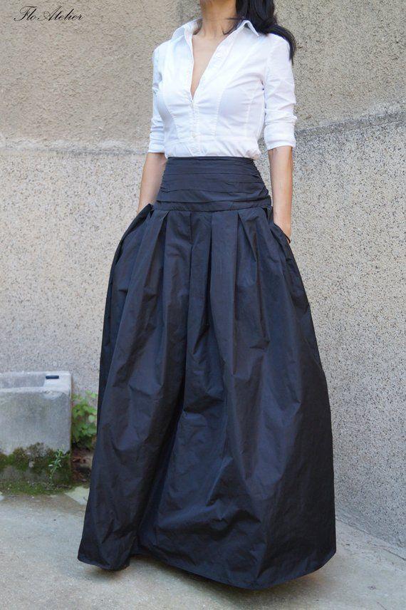 Beautiful Black Long Maxi Skirt / High or Low Waist | Etsy
