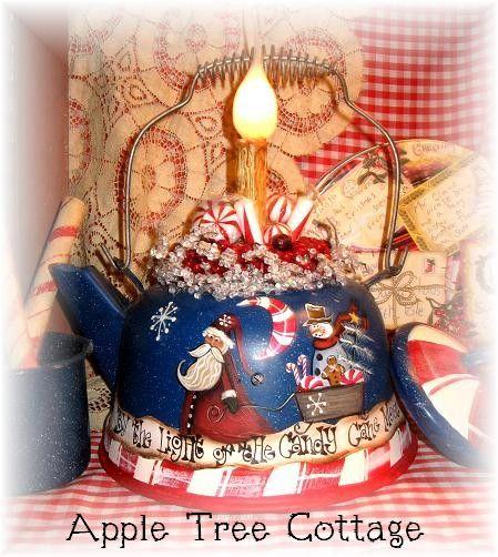 hand painted tea kettle light
