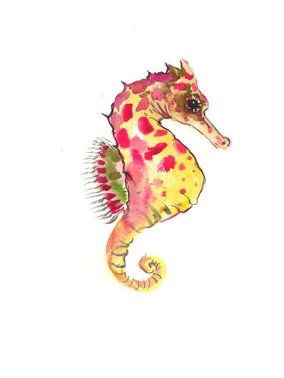 Seahorse Wall decor, seahorse art, one of  a kind original watercolor painting, seahorse art, nursery art, nursery painting