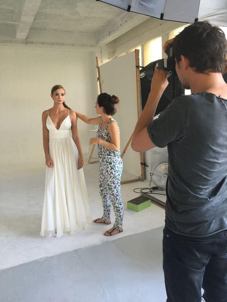 Lace wedding dress and evening dress.