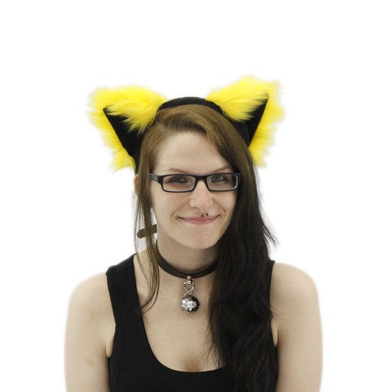 Pawstar harige Kitty Kat oren kostuum gele kleurenthema PLUIZIG MEW oor HOOFDBAND 3051