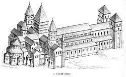 Impianto abbaziale di Cluny III (1088-1150), pianta e ricostruzione assonometrica.