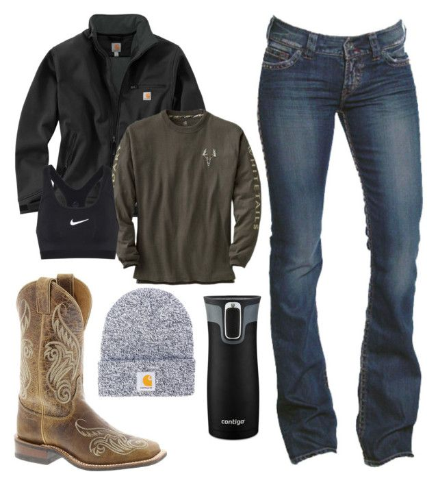"""And it's snowing again. 2.24.18"" by mud-lovin-redneck ❤ liked on Polyvore featuring 1921, Carhartt, NIKE, Justin Boots and Contigo"