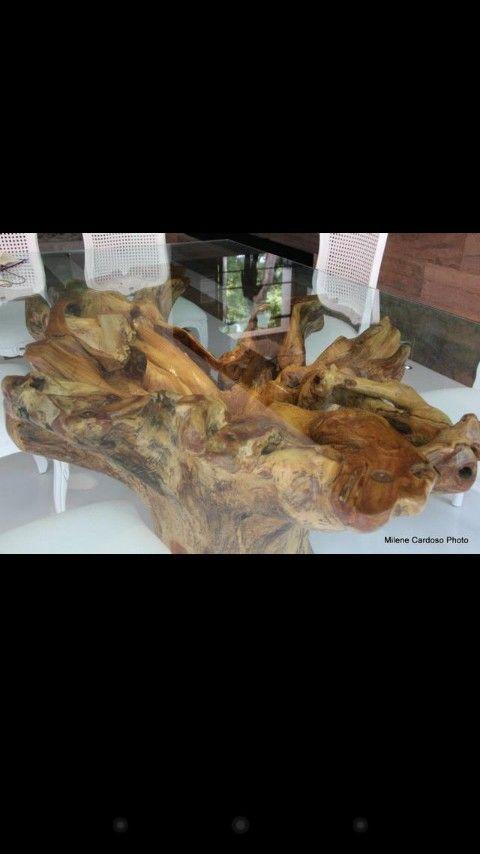 Mesa tronco de rvore sala jantar estar pinterest - Mesa de tronco ...