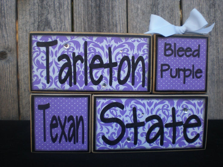 Wooden Blocks - Tarleton State - Texan. $23.00, via Etsy.