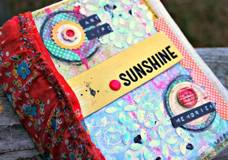 mixed media mini album / art journal made out of a cereal box