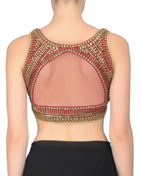 Red Sleeveless Sequined Blouse
