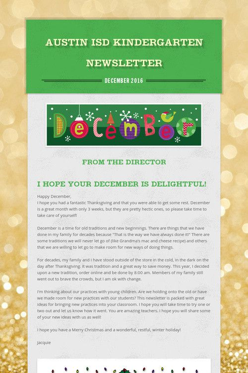 Austin ISD Kindergarten Newsletter