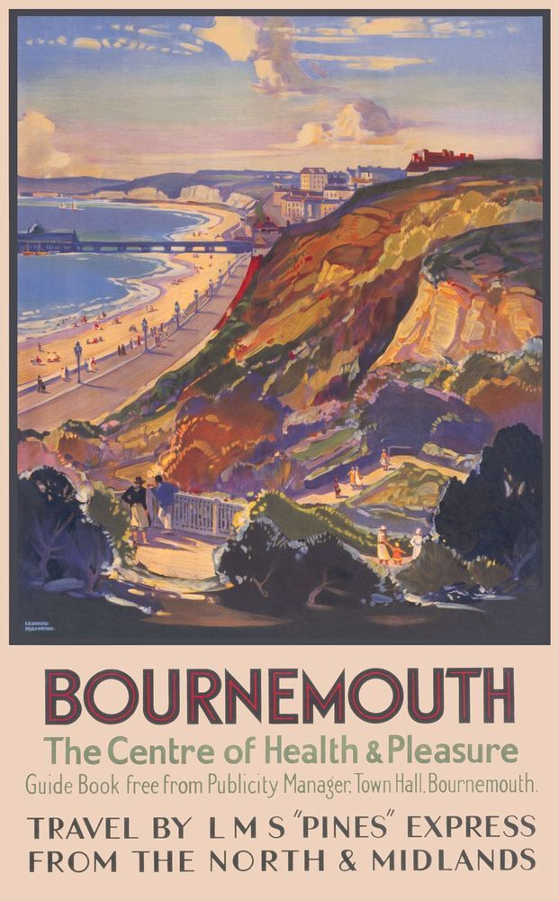 Bournemouth Southern Rail and GWR both served Devon and Cornwall , but LMS also had routes down to the south coast, and by the 1930's they both competed and often also collaborated . Special trains ran from many northern towns and cities as well as from London . This is a 1930s poster for LMS . Artwork by Leonard Richmond.17