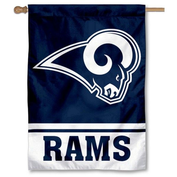 LA Rams White Two Sided House Flag measures 28x40 inches in size, is made of two ply and double sided polyester and is viewable from...
