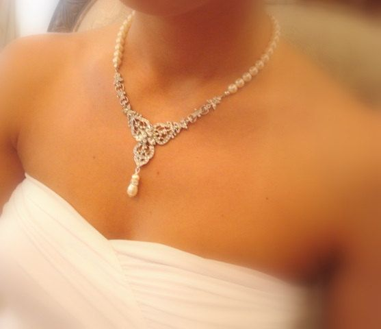 Bridal necklace and earrings wedding jewelry SET by treasures570, $135.00