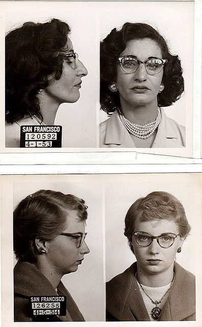 mugshots, 1950s. It doesn't matter what we choose to do, we still should wear lipstick and earrings!