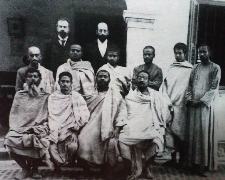 A rare photo of Sri Ramakrishna's disciples with Swamiji's disciples (Seated from L to R)Kalipada Ghosh (?), Swami Premananda (Baburam Maharaj), Swami Brahmanandaji (Raja Maharaj) & Swami Vijnananandaji (Vijnan Mj) (Standing - L to R) Swami Atmananda (Shukul Mj), Swami Kalyananandaji (?), Swami Adbhutanandaji (Latu Maharaj), Swami Subodhanandaji (Khoka Mj), (?) - Belur Math, June1899 - Thanks to Debraj Mitra for the original photo (Despeckled and reduced noise with Photoshop).