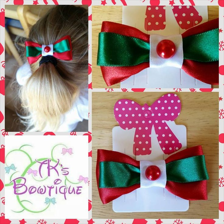 Handmade by Mel @ TK's Bowtique Satin ribbon tri color Christmas clip.
