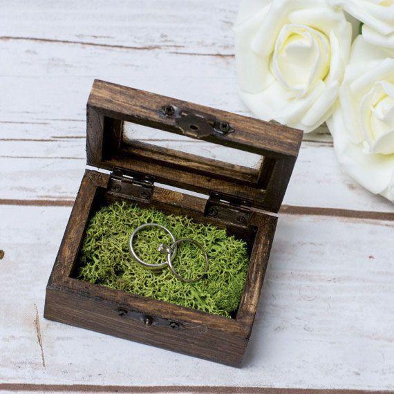Ehering Box Glas RIng Box Moss Ring Box Ehering von HappyWeddingArt