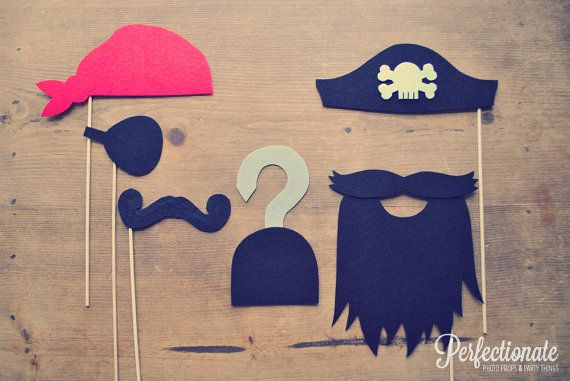 Felt Pirate Photo Props Set of 6 // Already Assembled Wedding Photo Props // Pirate Captain Hat // Pirate Hook // Pirate Beard // Eye Patch via Etsy