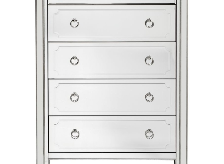 Simplicity Mirrored 5 Drawer Tall Chest Drawers Tall