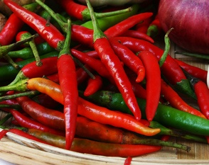 Chilli is found in many hot and spicy foods have been known to have medicinal and antimicrobial properties and are also high in vitamins, are a good source of beta carotene, calcium, and potassium, and may help reduce cholesterol.